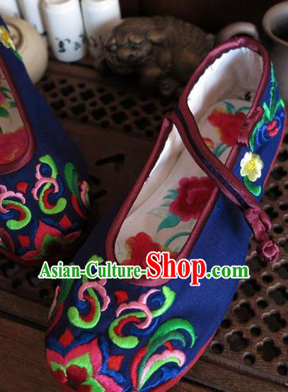 Asian Chinese Martial Arts Shoes Wedding Shoes Handmade Royalblue Embroidered Shoes, Traditional China Princess Shoes Hanfu Shoe for Women