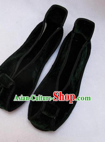Asian Chinese National Atrovirens Velvet Embroidered Shoes, Traditional China Handmade Shoes Hanfu Embroidery Shoes for Women