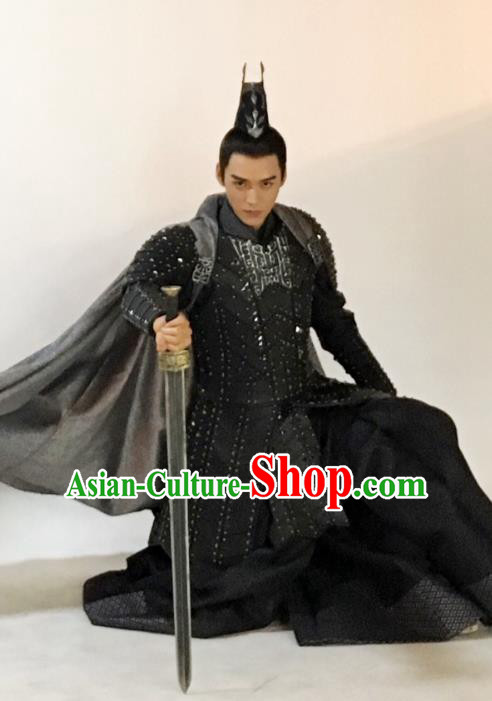Asian China Northern and Southern Dynasties General Ancient Warrior Costume Complete Set for Men