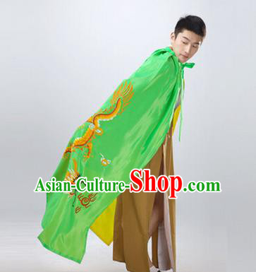 Traditional Ancient Chinese Manchu Prince Costume Long Green Cloak, Asian Chinese Qing Dynasty Royal Highness Embroidered Mantle Clothing for Men