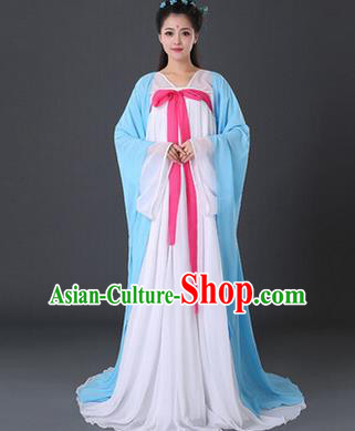 Asian China Ancient Tang Dynasty Palace Lady Costume, Traditional Chinese Princess Hanfu Embroidered Blue Dress Clothing for Women