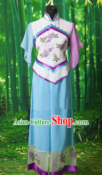 Traditional Chinese Classical Dance Yangge Fan Dancing Costume, Folk Dance Drum Dance Yangko Blue Clothing for Women