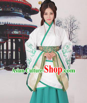 Traditional Ancient Chinese Imperial Consort Costume, Elegant Hanfu Chinese Han Dynasty Imperial Empress Green Embroidered Clothing for Women