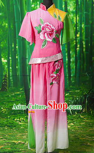 Traditional Chinese Classical Dance Yangge Fan Dancing Costume, Folk Dance Drum Dance Yangko Pink Clothing for Women