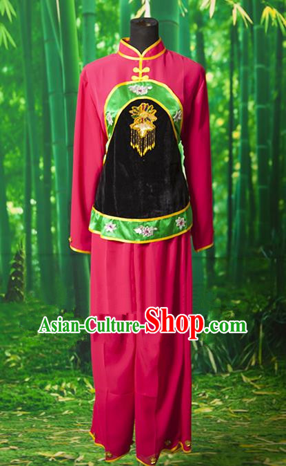 Traditional Chinese Classical Dance Yangge Fan Dancing Costume, Folk Dance Drum Dance Yangko Rosy Clothing for Women