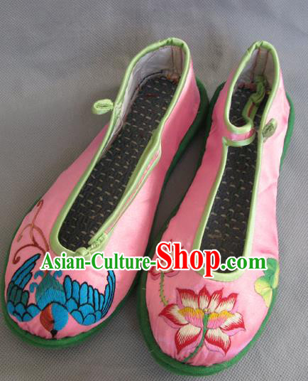 Traditional Chinese National Pink Satin Shoes Embroidered Shoes, China Handmade Shoes Hanfu Embroidery Shoes for Women