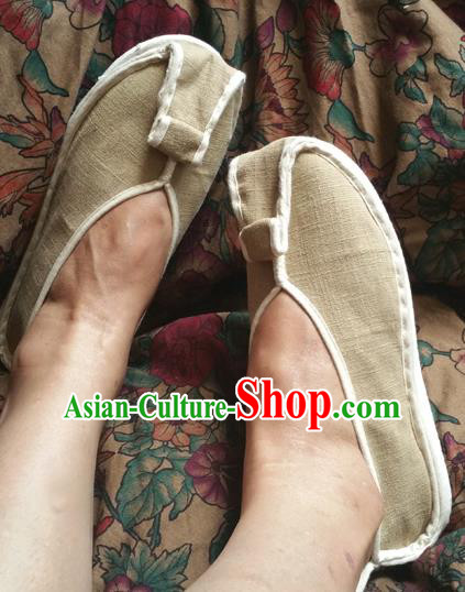 Traditional Chinese National Linen Shoes Monk Shoes, China Handmade Shoes Hanfu Martial Arts Shoes for Women