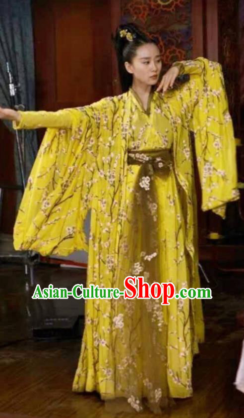 Asian China Northern and Southern Dynasties Palace Lady Dance Costume, Traditional Chinese Lost Love In Times Ancient Embroidered Clothing for Women