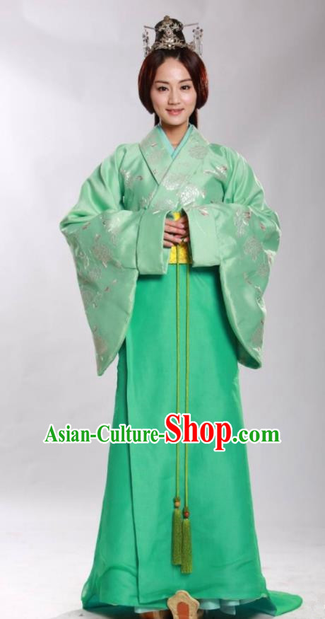 Asian China Han Dynasty Princess Costume and Headpiece Complete Set, Traditional Chinese Ancient Palace Lady Clothing for Women