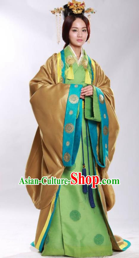 Asian China Han Dynasty Empress Costume and Headpiece Complete Set, Traditional Chinese Ancient Palace Queen Clothing for Women