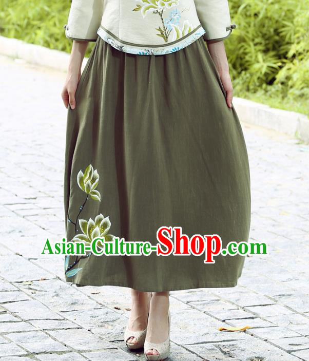 Asian China Hand Painting Linen Bust Skirt, Traditional Chinese Tang Suit Green Skirts for Women