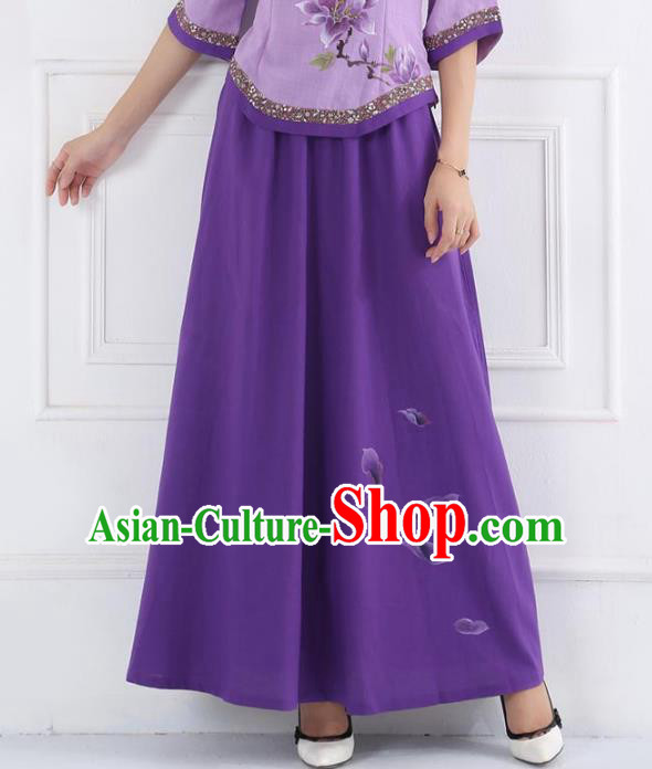 Asian China Hand Painting Linen Bust Skirt, Traditional Chinese Tang Suit Purple Skirts for Women