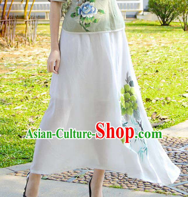 Asian China Hand Painting White Linen Bust Skirt, Traditional Chinese Tang Suit Hanfu Skirts for Women