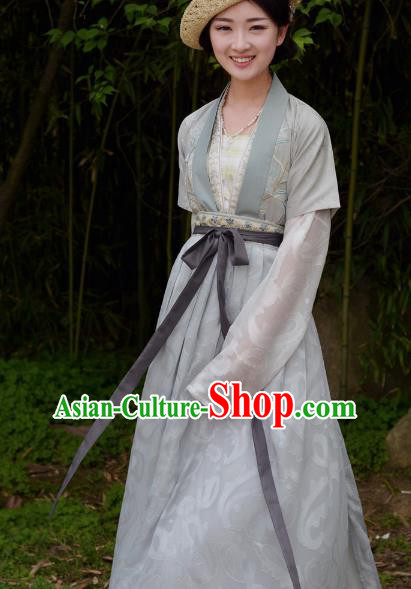 Asian China Tang Dynasty Young Lady Costume, Traditional Chinese Ancient Princess Embroidered Hanfu Clothing for Women