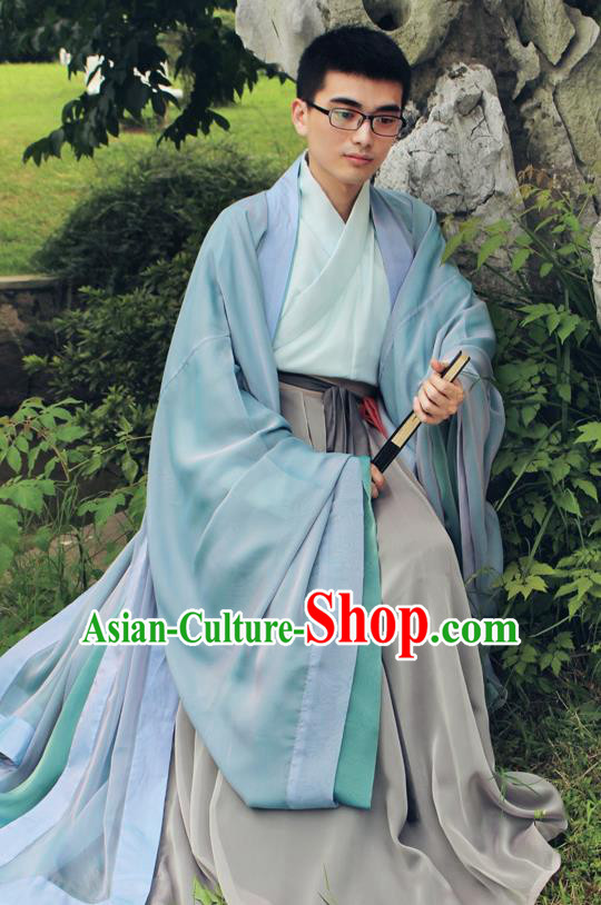 Asian China Han Dynasty Scholar Costume Cloak Long Robe Complete Set, Traditional Chinese Ancient Chancellor Hanfu Clothing for Men