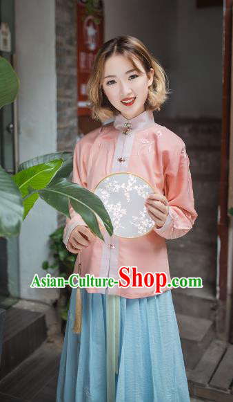 Asian China Ming Dynasty Young Lady Costume Embroidery Pink Blouse, Traditional Chinese Ancient Princess Hanfu Clothing for Women
