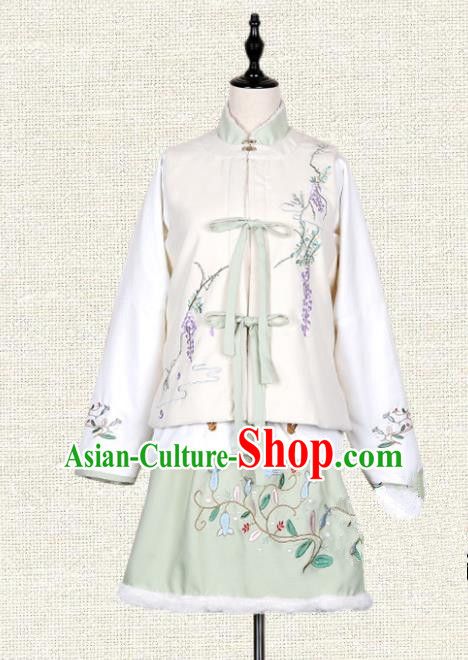 Asian China Ming Dynasty Princess Embroidered Costume, Traditional Ancient Chinese Palace Lady Embroidery Vest Blouse and Skirt Clothing for Women