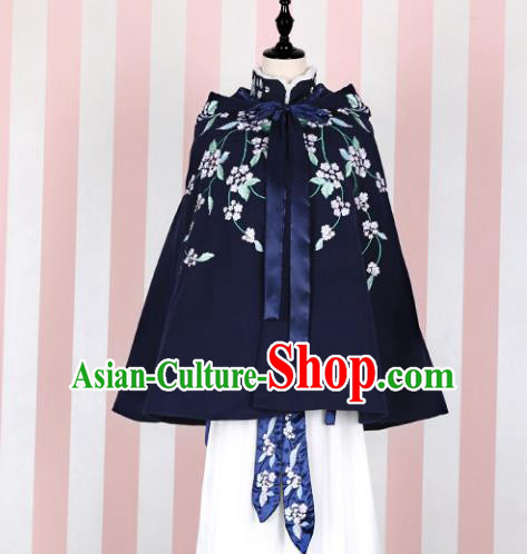 Asian China Ming Dynasty Princess Costume Embroidered Navy Cape, Traditional Ancient Chinese Palace Lady Embroidery Cloak Clothing for Women