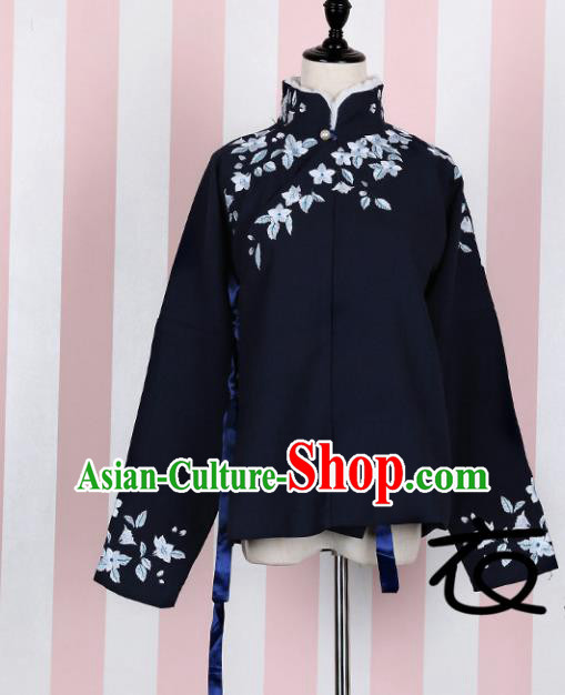 Asian China Ming Dynasty Princess Costume Embroidered Navy Blouse, Traditional Ancient Chinese Palace Lady Embroidery Shirt Clothing for Women