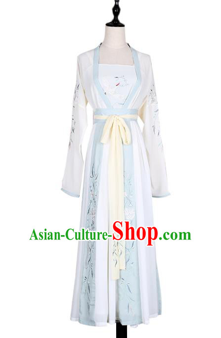 Asian China Tang Dynasty Young Lady Embroidered Costume Complete Set, Traditional Ancient Chinese Princess Embroidery Hanfu Clothing for Women