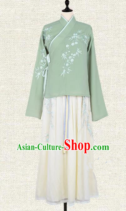 Asian China Ming Dynasty Young Lady Costume Embroidered Green Blouse and Skirt Complete Set, Traditional Ancient Chinese Princess Elegant Hanfu Clothing for Women