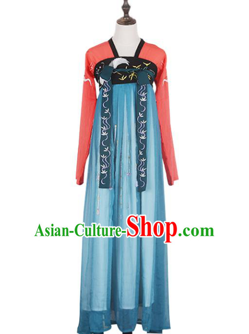 Asian China Tang Dynasty Imperial Concubine Embroidered Costume, Traditional Ancient Chinese Princess Elegant Hanfu Slip Skirt Clothing for Women