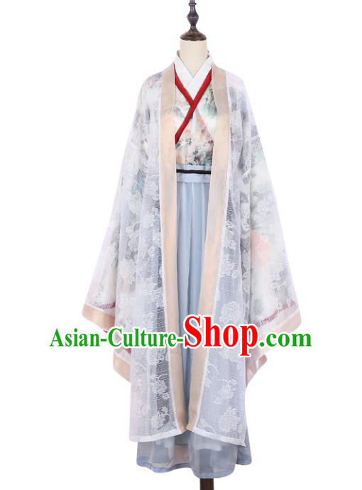 Asian China Jin Dynasty Swordswoman Embroidered Costume Complete Set, Traditional Ancient Chinese Elegant Hanfu Printing Cardigan Clothing for Women