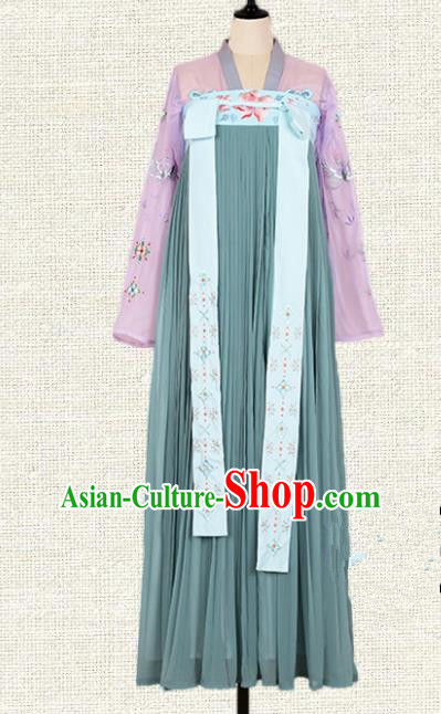 Asian China Tang Dynasty Princess Embroidered Clothing Complete Set, Traditional Ancient Chinese Palace Lady Hanfu Costume for Women