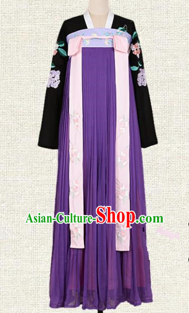 Asian China Tang Dynasty Princess Embroidered Clothing Complete Set, Traditional Ancient Chinese Palace Lady Hanfu Purple Silp Skirt Costume for Women