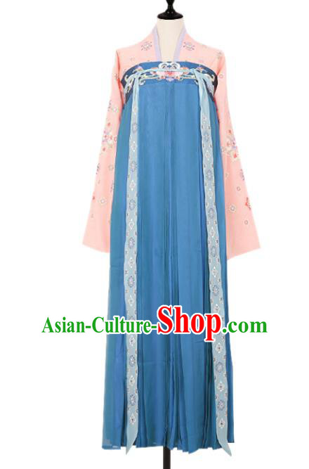 Asian China Tang Dynasty Princess Embroidered Clothing Complete Set, Traditional Ancient Chinese Palace Lady Hanfu Blue Slip Skirt Costume for Women