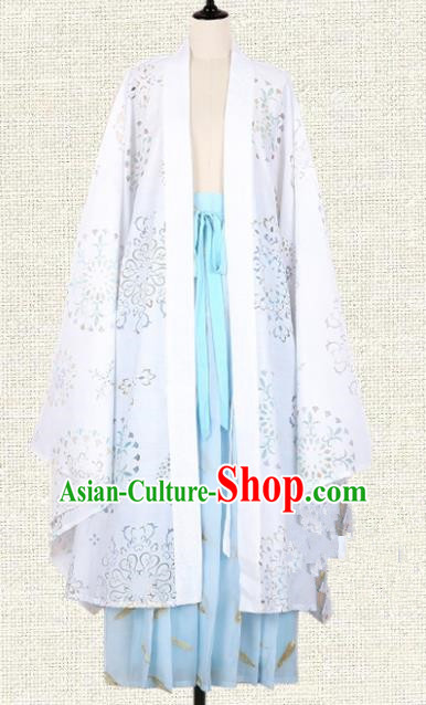 Asian China Tang Dynasty Princess Embroidered Wide Sleeve Cardigan, Traditional Ancient Chinese Palace Lady Hanfu Costume for Women