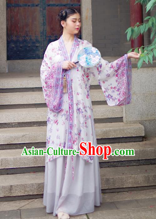 Asian China Han Dynasty Palace Lady Costume Princess Purple Printing Wide Sleeve Cardigan for Women