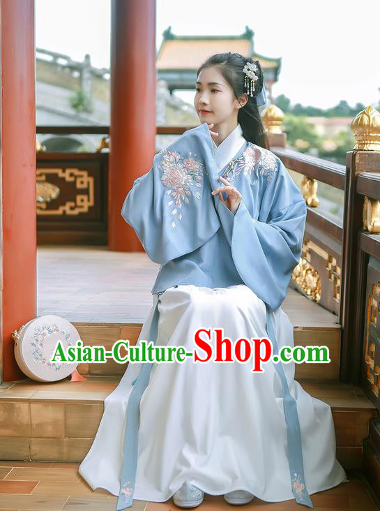 Asian China Ming Dynasty Palace Lady Costume Embroidery Blue Blouse and White Skirt, Traditional Ancient Chinese Princess Elegant Hanfu Clothing for Women