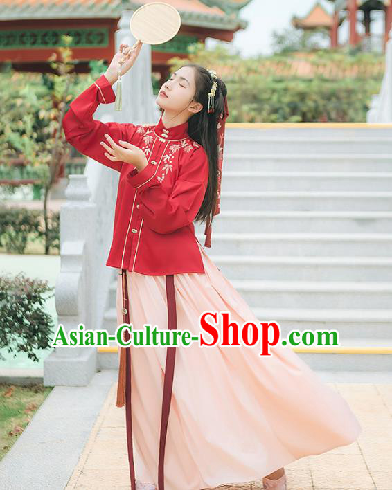 Asian China Ming Dynasty Palace Lady Costume Embroidery Red Blouse and Pink Skirt, Traditional Ancient Chinese Princess Elegant Hanfu Clothing for Women