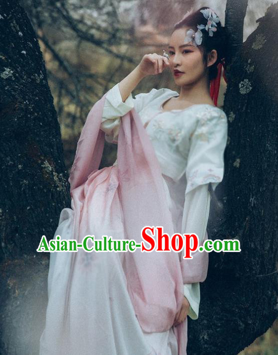 Asian China Tang Dynasty Young Lady Embroidered Half-Sleeves Costume Complete Set, Traditional Ancient Chinese Princess Hanfu Clothing for Women