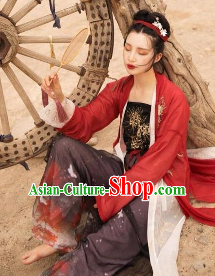 Asian China Song Dynasty Young Lady Costume Embroidered Blouse and Pants Complete Set for Women