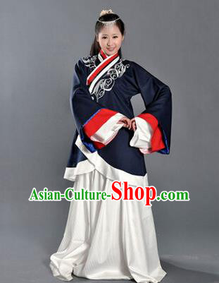 Asian China Ancient Han Dynasty Palace Lady Costume, Traditional Chinese Imperial Empress Tailing Embroidered Black Curve Bottom Clothing for Women