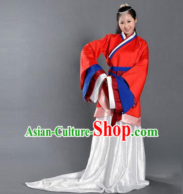 Asian China Ancient Han Dynasty Palace Lady Costume, Traditional Chinese Imperial Empress Tailing Embroidered Red Curve Bottom Clothing for Women