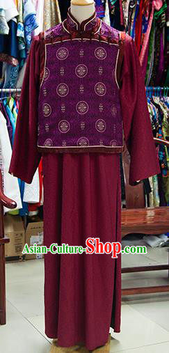 Traditional Ancient Chinese Manchu Prince Costume Purple Mandarin Jacket, Chinese Qing Dynasty Royal Highness Clothing for Men