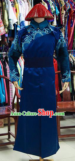 Traditional Ancient Chinese Manchu Imperial Bodyguard Costume, Chinese Qing Dynasty Royal Eunuch Clothing for Men