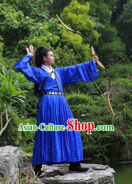 Traditional Ancient Chinese Swordsman Costume Embroidered Blue Robe, Elegant Hanfu Clothing Chinese Ming Dynasty Kawaler Clothing for Men