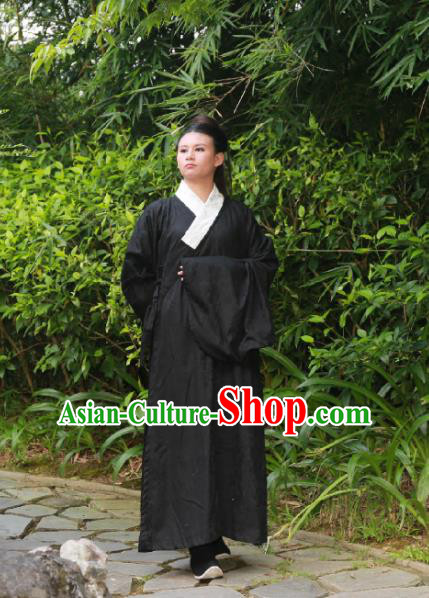 Traditional Ancient Chinese Swordsman Costume Black Robe, Elegant Hanfu Clothing Chinese Ming Dynasty Kawaler Clothing for Men