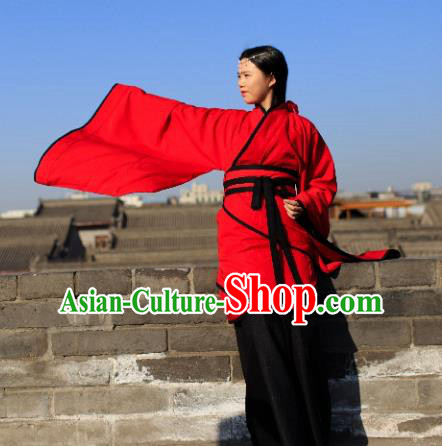 Traditional Chinese Ancient Palace Lady Wedding Costume Red Curve Bottom, Asian China Han Dynasty Imperial Concubine Hanfu Dress Clothing for Women
