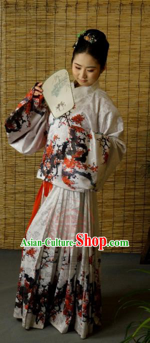 Traditional Chinese Ancient Young Lady Printing Costume, Asian China Ming Dynasty Imperial Concubine Hanfu Clothing for Women