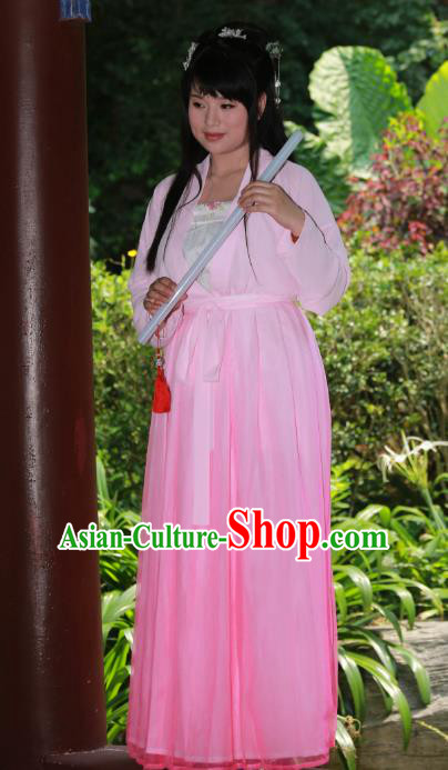 Traditional Ancient Chinese Imperial Princess Hanfu Pink Costume, Asian China Tang Dynasty Palace Lady Dress Clothing for Women