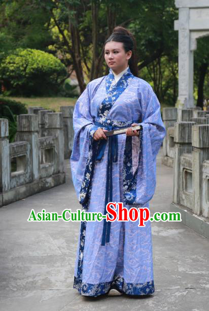Traditional Ancient Chinese Scholar Hanfu Costume, Asian China Han Dynasty Swordsman Blue Robe Clothing for Men