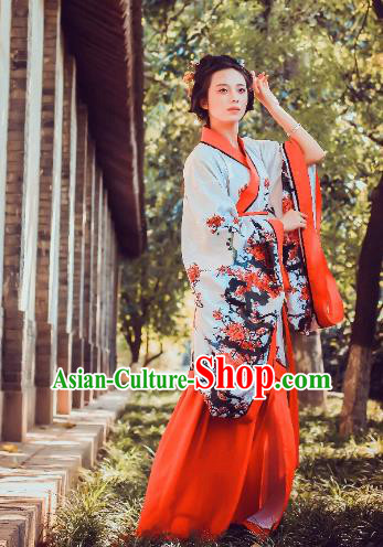 Traditional Chinese Ancient Palace Lady Printing Wintersweet Costume Curve Bottom, Asian China Han Dynasty Imperial Concubine Hanfu Dress Clothing for Women