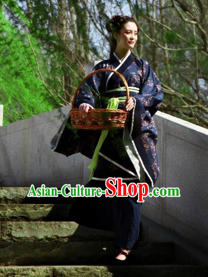 Traditional Chinese Ancient Costume Palace Lady Navy Printing Curve Bottom, Asian China Han Dynasty Imperial Princess Hanfu Dress Clothing for Women