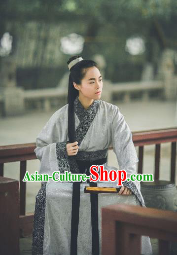 Traditional Ancient Chinese Hanfu Embroidered Costume, Asian China Han Dynasty Imperial Prince Robe Clothing for Men