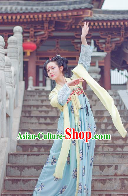 Traditional Chinese Ancient Costume Palace Lady Printing Blue Slip Skirt, Asian China Tang Dynasty Imperial Princess Hanfu Dress Clothing for Women